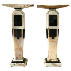 Pair of Art Deco Style Pedestals, 1980s