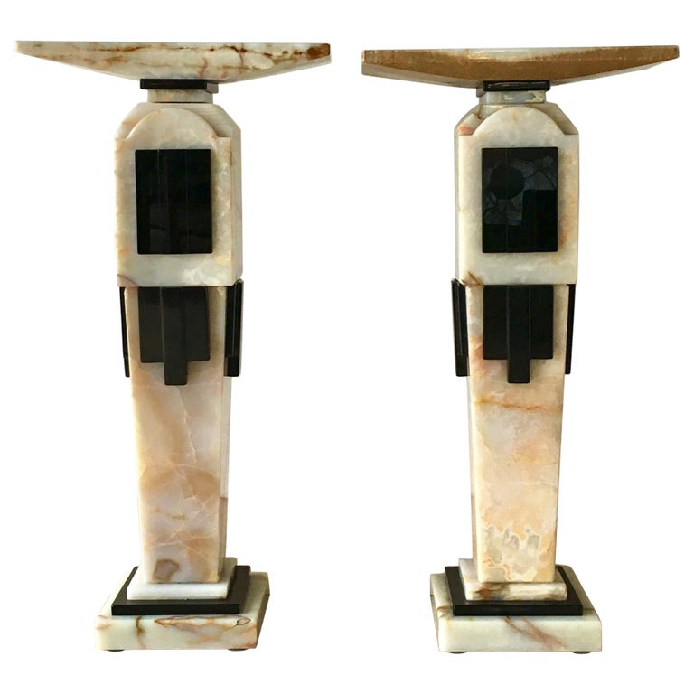 Pair of Art Deco Style Pedestals, 1980s For Sale