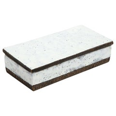 Bitossi Box Ceramic White Brown Signed