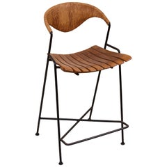 Low Wrought Iron Arthur Umanoff Bar Stool