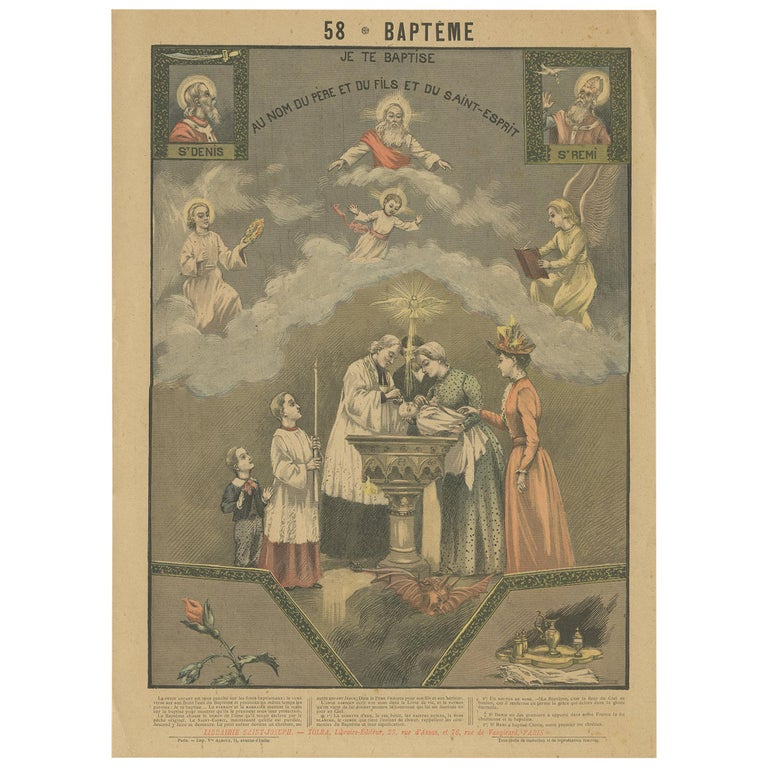 Antique Print of Baptism by Mouterde, circa 1900 For Sale
