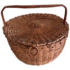 19th Century Woven Splint Feather Gathering Basket