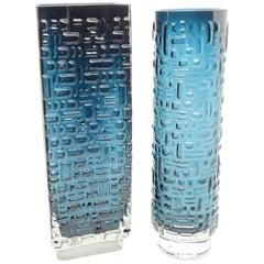 Set of 2 Glass Vase by Emil Funke for Gral Glas in Petrol Color, circa 1970s