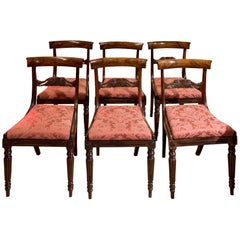 Set of 6 Regency Rosewood Dining Chairs on Fluted and Turned Legs