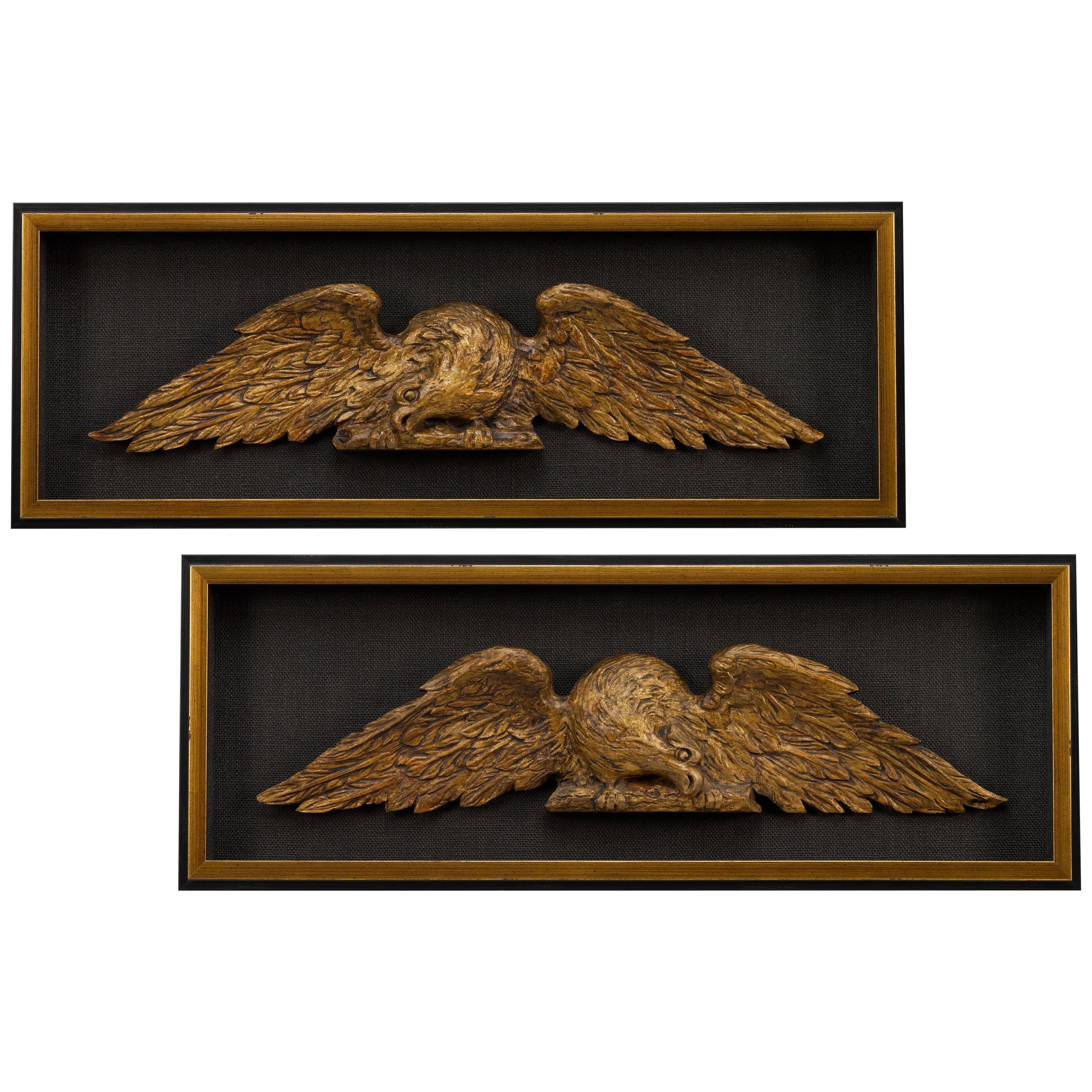 American Eagles, Antique Hand Carved Matching Set, Late 19th Century