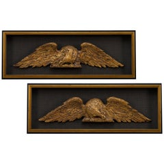 American Architectural Gilt Eagles, Hand Carved Matching Set, Late 19th Century