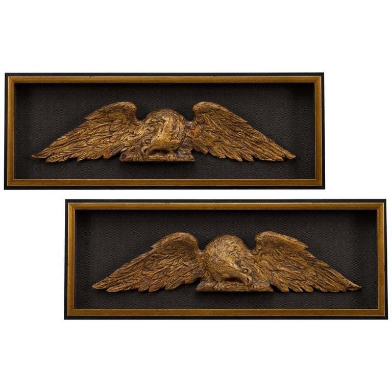 American Architectural Gilt Eagles, Hand Carved Matching Set, Late 19th Century For Sale