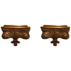 Pair of Gothic Revival Oak Wall Brackets