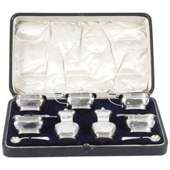 Antique English Cased Sterling Silver 12-Piece Condiment Set, 1909