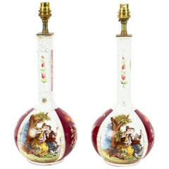 Antique Pair of German Dresden Style Porcelain Lamps, Early 20th Century