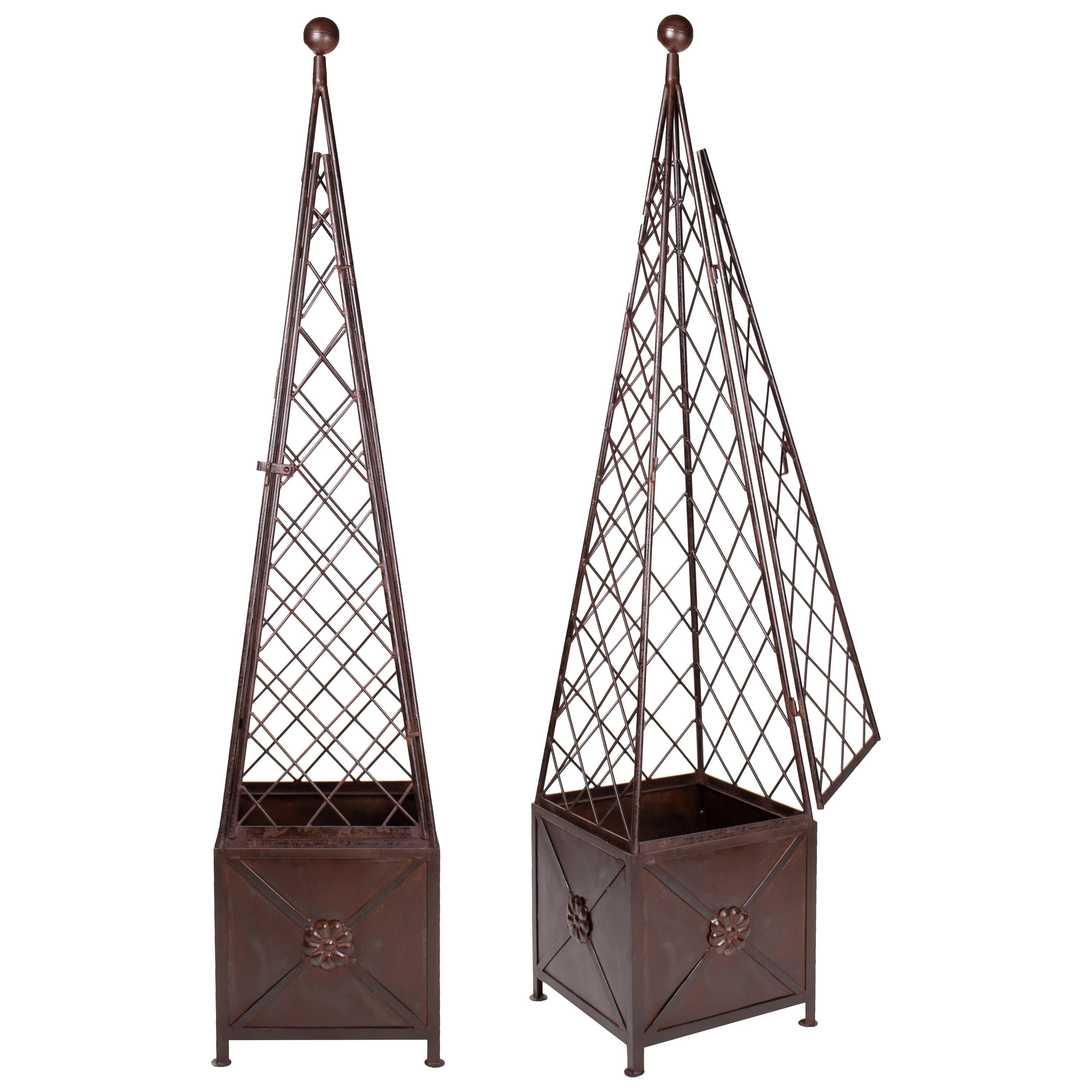 Pair of Classical French Style Iron Obelisks with Base