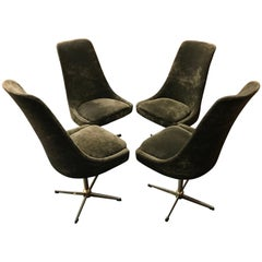 Four Brown Velour Midcentury Swivel Chairs