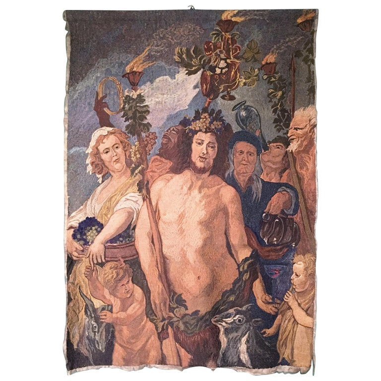 Early-20th Century Italian Embroidered Tapestry Depicting a Bacchanalia For Sale