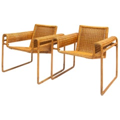 Set of Very Rare Wicker Chairs, Inspired by the Wassily Chair, 1970s