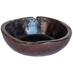 Old Tribal Wooden Bowl from the Nepal Himal, Mid-20th Century