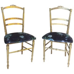 20th Century, French Pair of Louis XVI Style Gilted Bronze Chairs, 1930s
