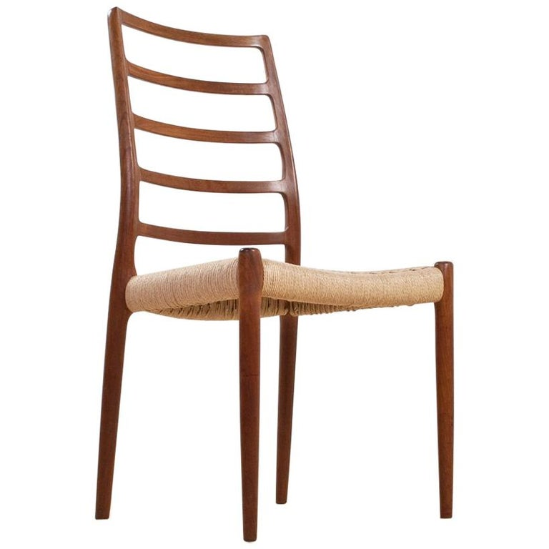 Scandinavian Modern Dining Chair in Teak and Paper Cord by Niels Moller, 1954 For Sale