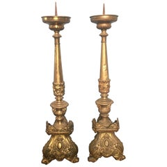 19th Century Pair of Italian Altar Brass Candleholder, 1890s