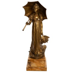 Bronze Figure of Girl in High-Waisted Evening Dress with Umbrella Hans Müller