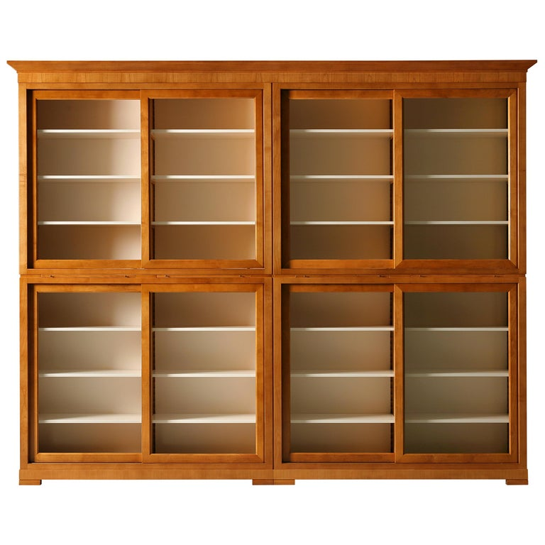 Contemporary Bookcase in Biedermeier Style, Sliding Doors, Made of Cherrywood For Sale