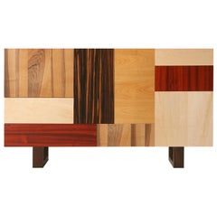 Contemporary Sideboard Made with Wood Patchwork