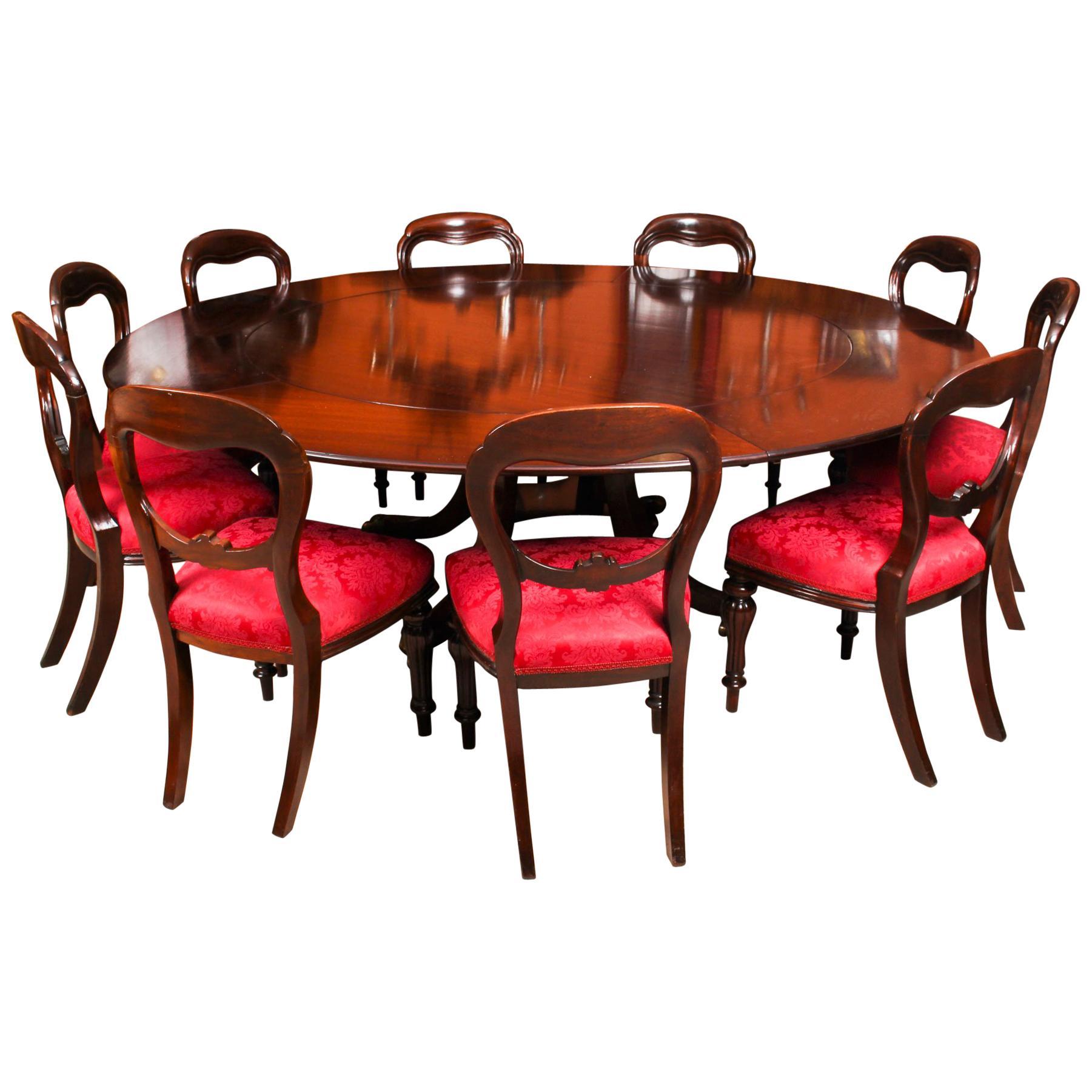Art Deco Mahogany Dining Room Set With Herring Bone Design