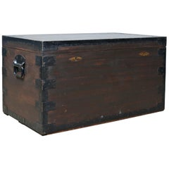 Antique Steamer Trunk, Marine, English, Travel, Ship's Chest, Metal Lined