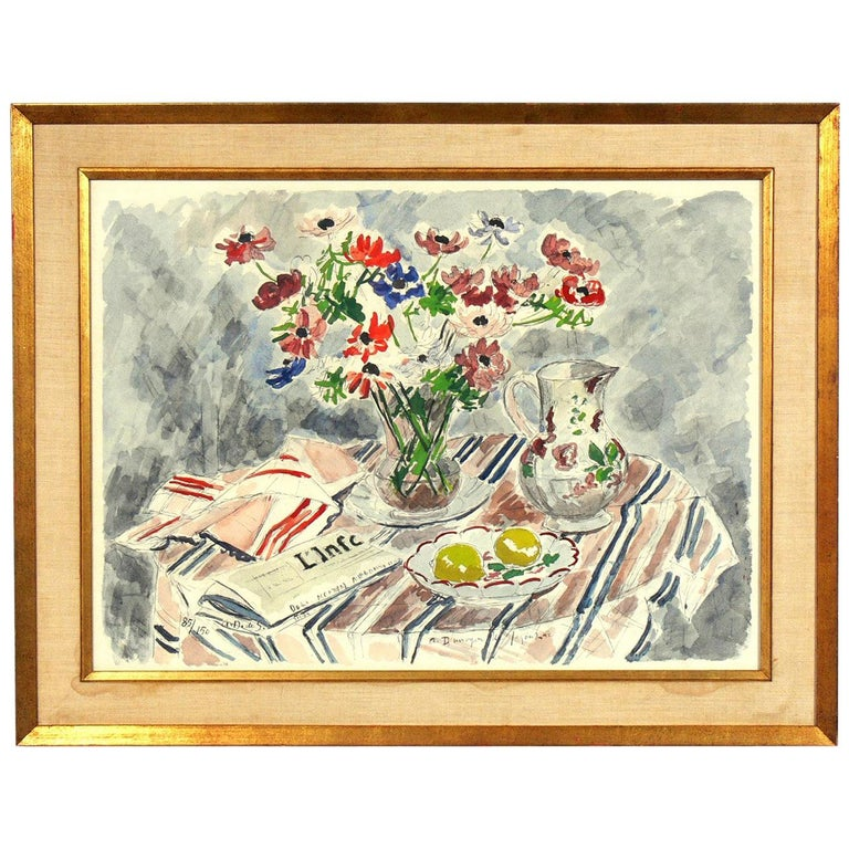 Modernist Still Life by Andre Dunoyer de Segonzac  For Sale