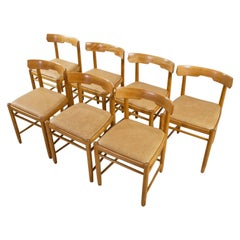 Scandinavian Modern Dining Room Chairs in Beech and Tan Leather, 1960s Set of 7