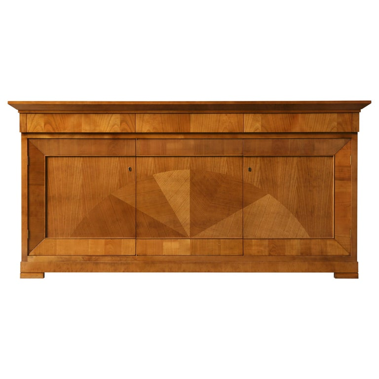 Contemporary Sideboard in Biedermeier Style, Made of Cherry Wood For Sale