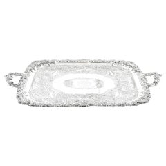 19th Century Regency Old Sheffield Silver Plated Tray with Cavendo Tutus Crest