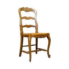 Set of Four French Antique Dining Chairs, Country, Kitchen, Oak, Rush circa 1930