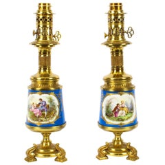 Antique Pair of French Bleu Celeste Sèvres Vases Lamps, 19th Century