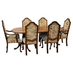 20th Century English Queen Anne Style Burr Walnut Dining Table and Chairs