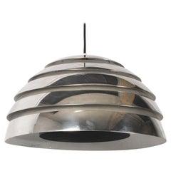 Midcentury Scandinavian Hans-Agne Jacobsson Swedish Ceiling Silver Lamp, 1960s