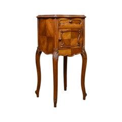 Antique French Bedside Cabinet, Edwardian, Walnut, Marble, Pot Cupboard