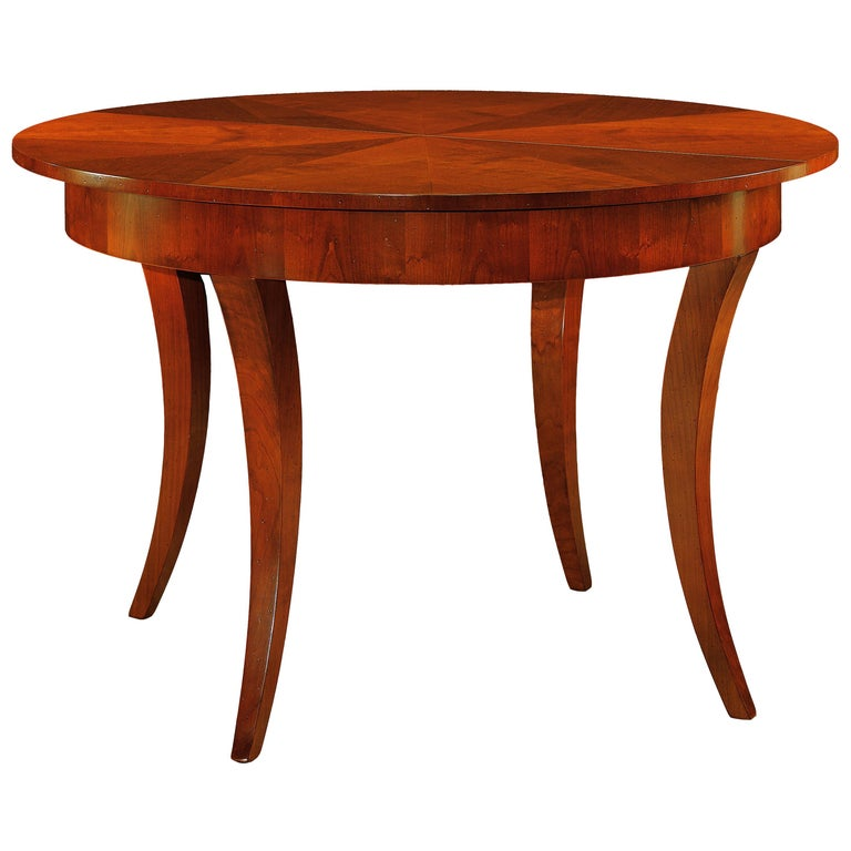 Contemporary Extendable Table in Biedermeier Style Made of Cherrywood For Sale