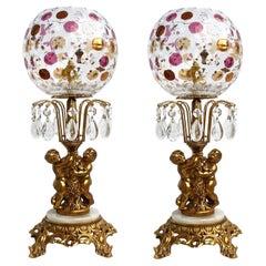 Pair Color Bohemia Crystal Hollywood Regency Empire Cherub Onix Gilt Table Lamps