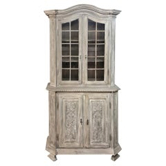 19th Century Country French Louis XVI Stripped Bookcase, Vitrine