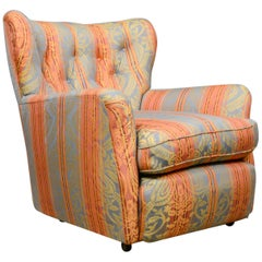 Small, Vintage Winged Armchair, English, Upholstered Button-Back Chair