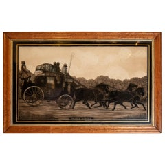 Reverse Painting on Glass of Stagecoach and Horses Pulling Up to Avoid a Skid