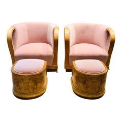 Pair of 1930s Art Deco Blond Walnut and Pink Velvet Armchairs with Footstools