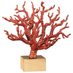 Red Coral Sculpture with Natural Coral