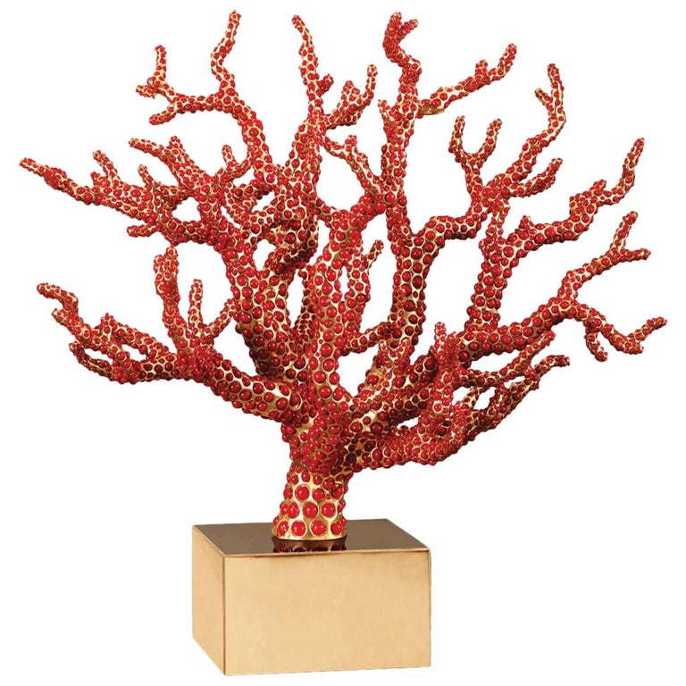 Red Coral Sculpture with Natural Coral For Sale