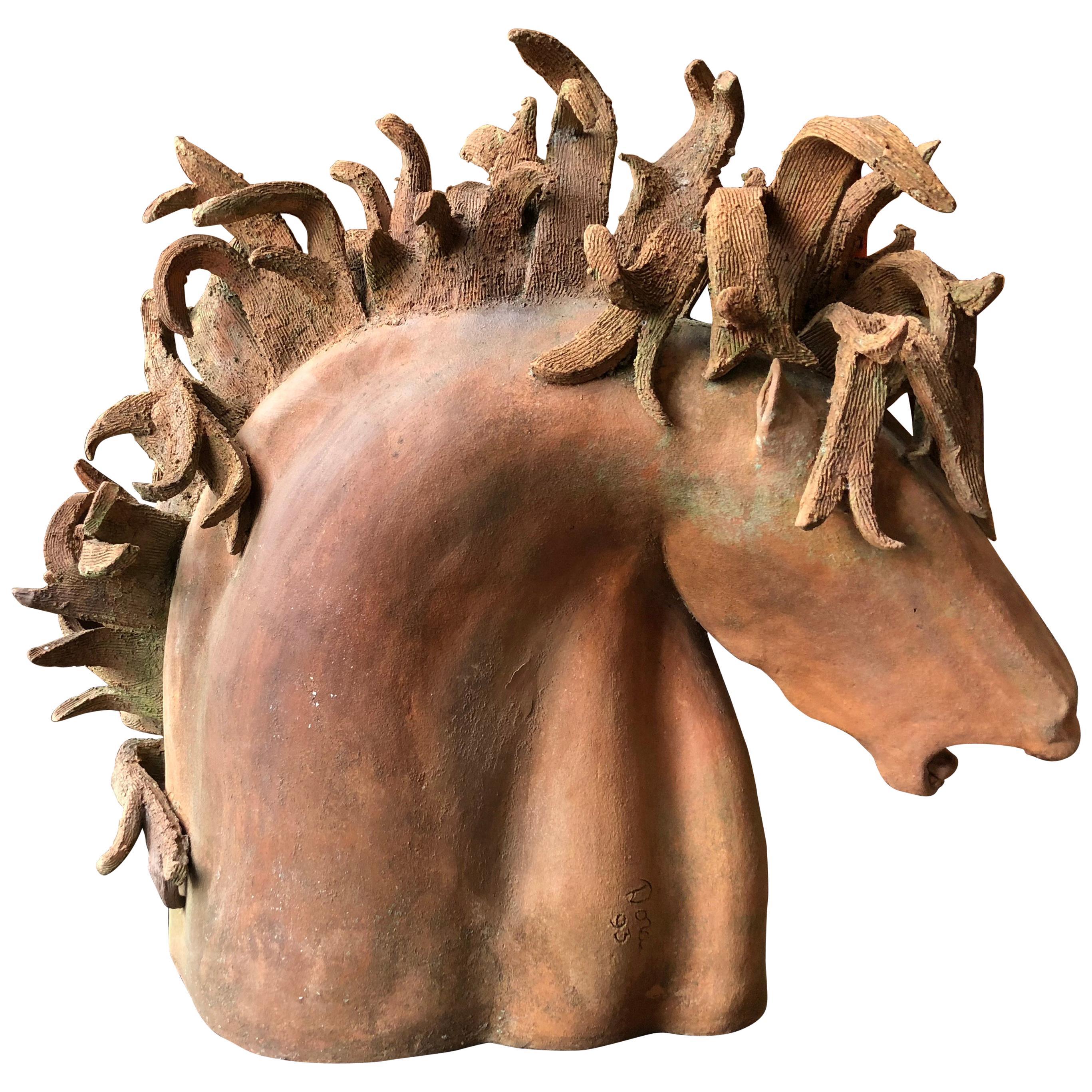 Dramatic Terra Cotta Horse Head Sculpture