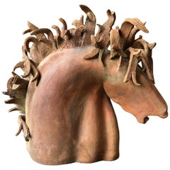 Dramatic Terra Cotta Horse Head Sculpture
