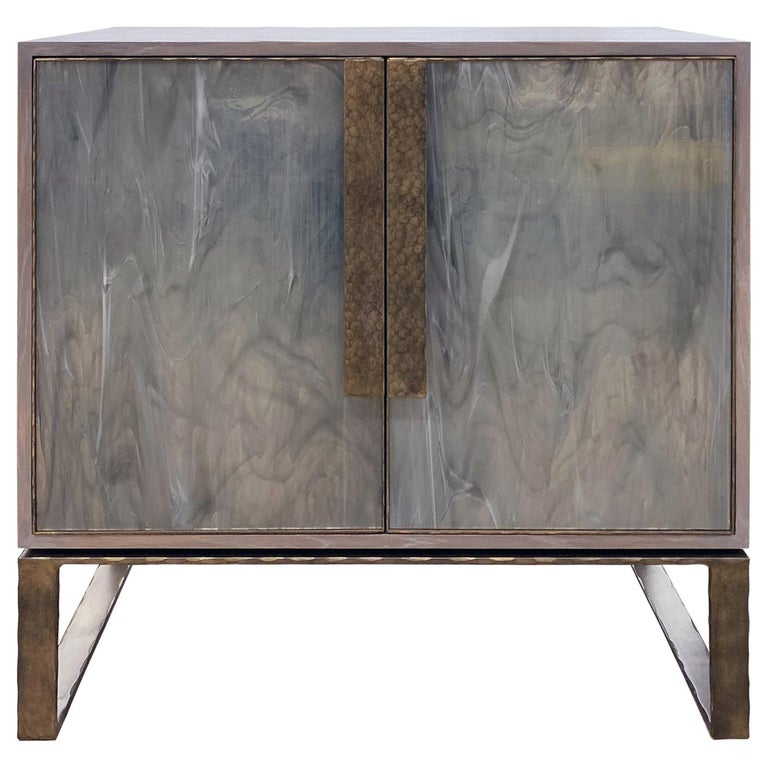 Customizable Chelsea Gray Glass Credenza with Metal Base by Ercole Home For Sale