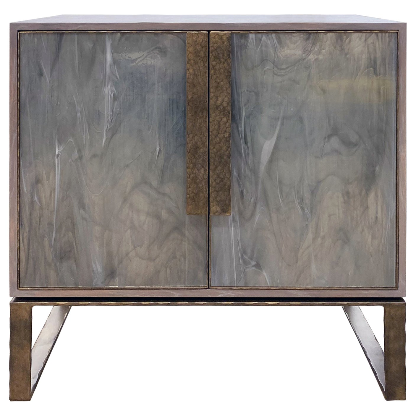 Customizable Chelsea Gray Glass Credenza with Metal Base by Ercole Home