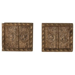 Pair of 17th Century French Hand Carved Oak Panels with Male and Female Profiles