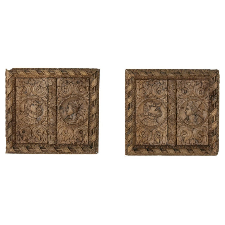 Pair of 17th Century French Hand Carved Oak Panels with Male and Female Profiles For Sale